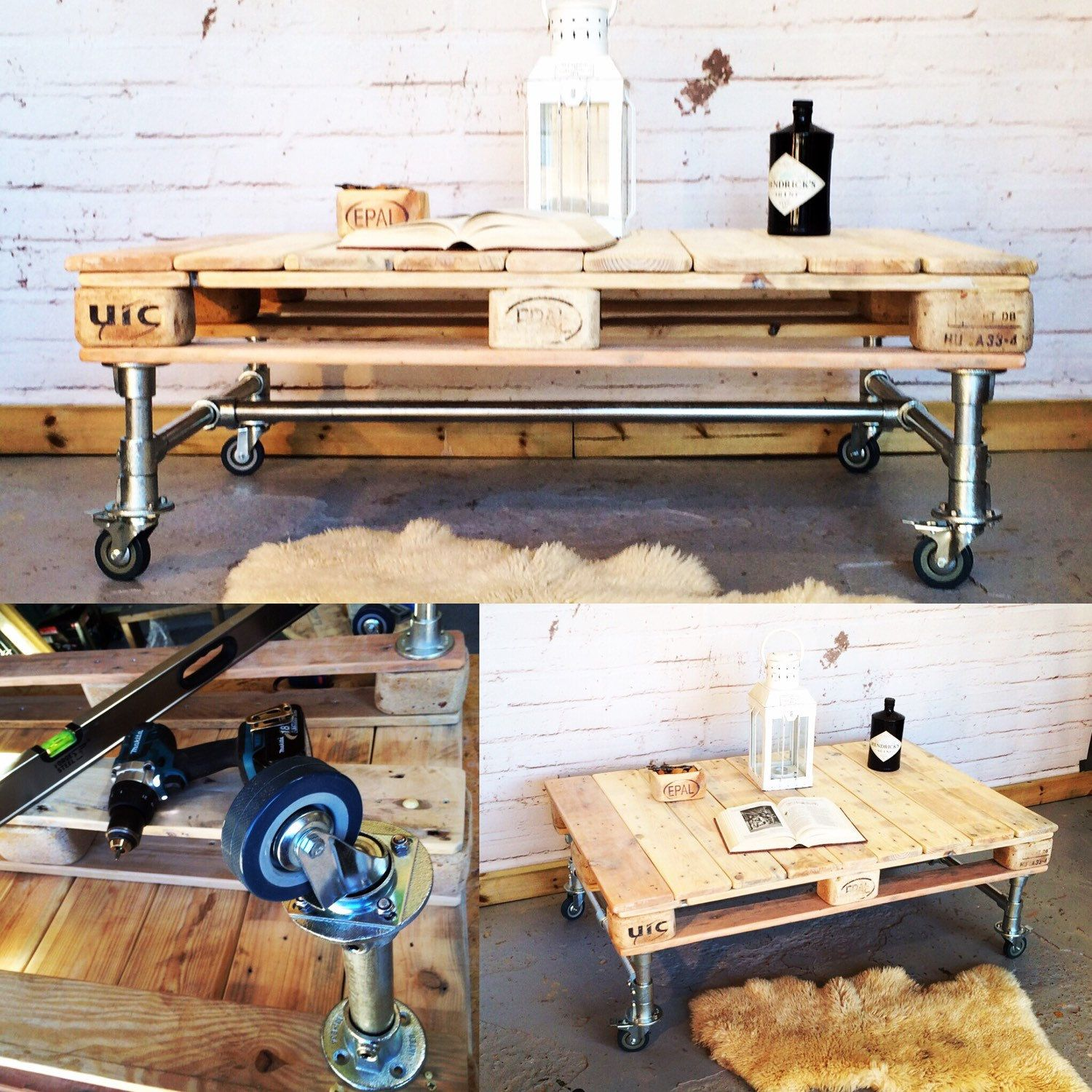Making Industrial Style Coffee Table From Scaffold Poles And Recycled  Pallet Wood.