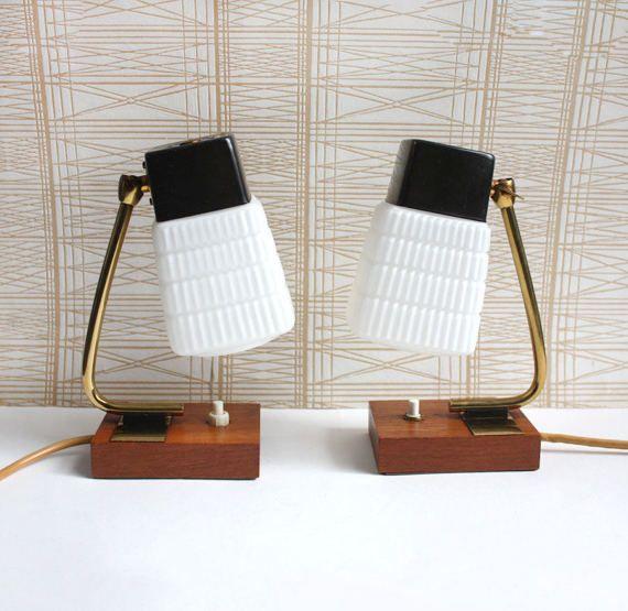 1960s Accent Lights Bedside Table Lamps Teak White Glass Brass Danish Minimalist Midcentury Modern Style Table Lamp Small Bedside Lamps Vintage Lamps
