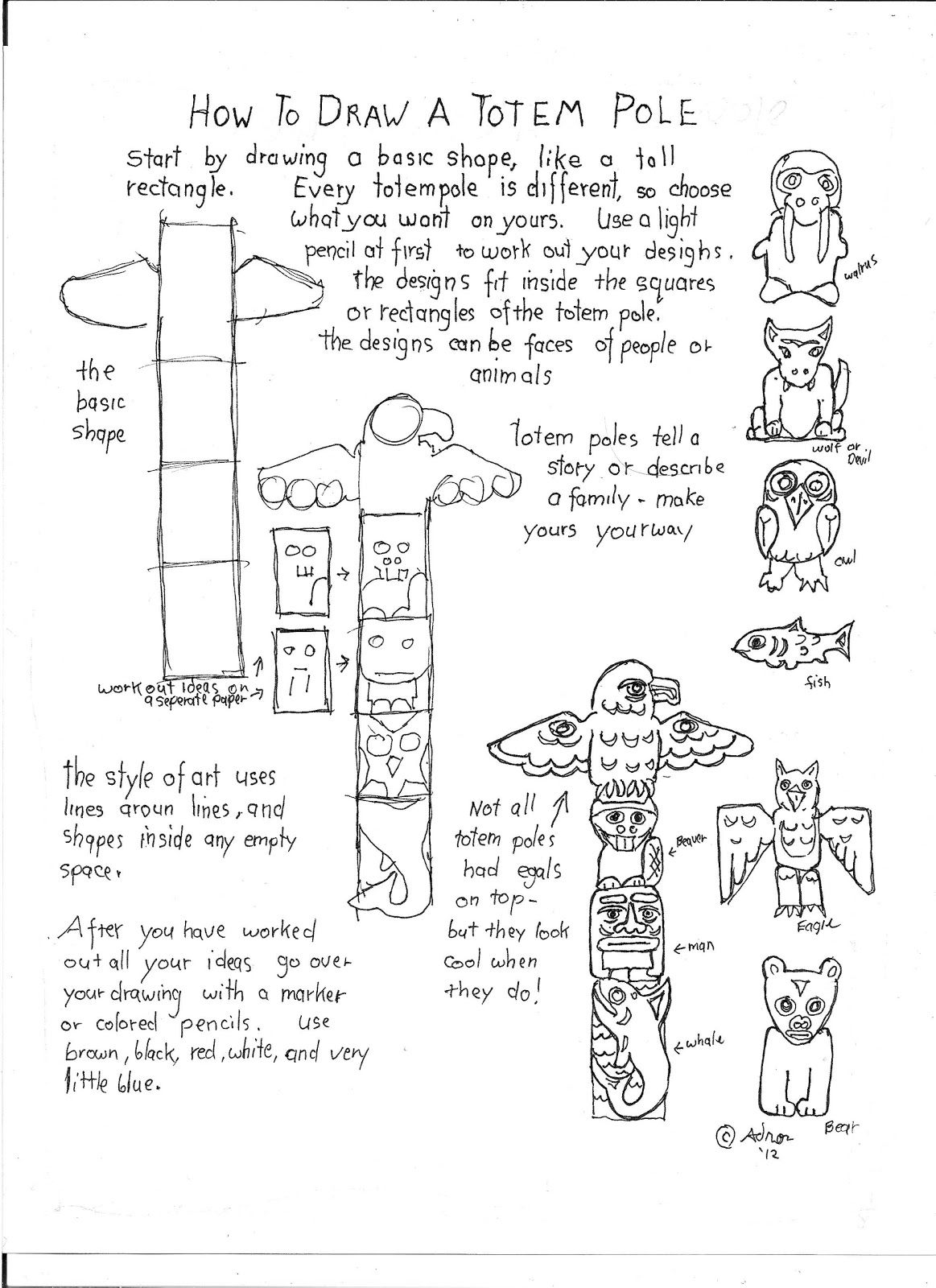how to draw a totem pole printable worksheet | native american art