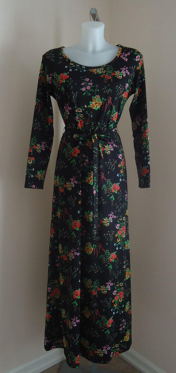 Vintage 1970s Leo Danal by Normie Hum Ltd. Black Floral Dress on Etsy, $80.91 CAD