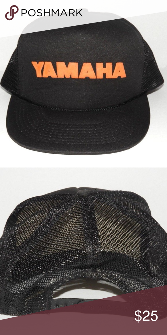 bda9552aab352 Vintage Snapback Trucker Hat - Yamaha Orange Black Clean Working snapback  Mesh Back Smoke Free Home Accessories Hats