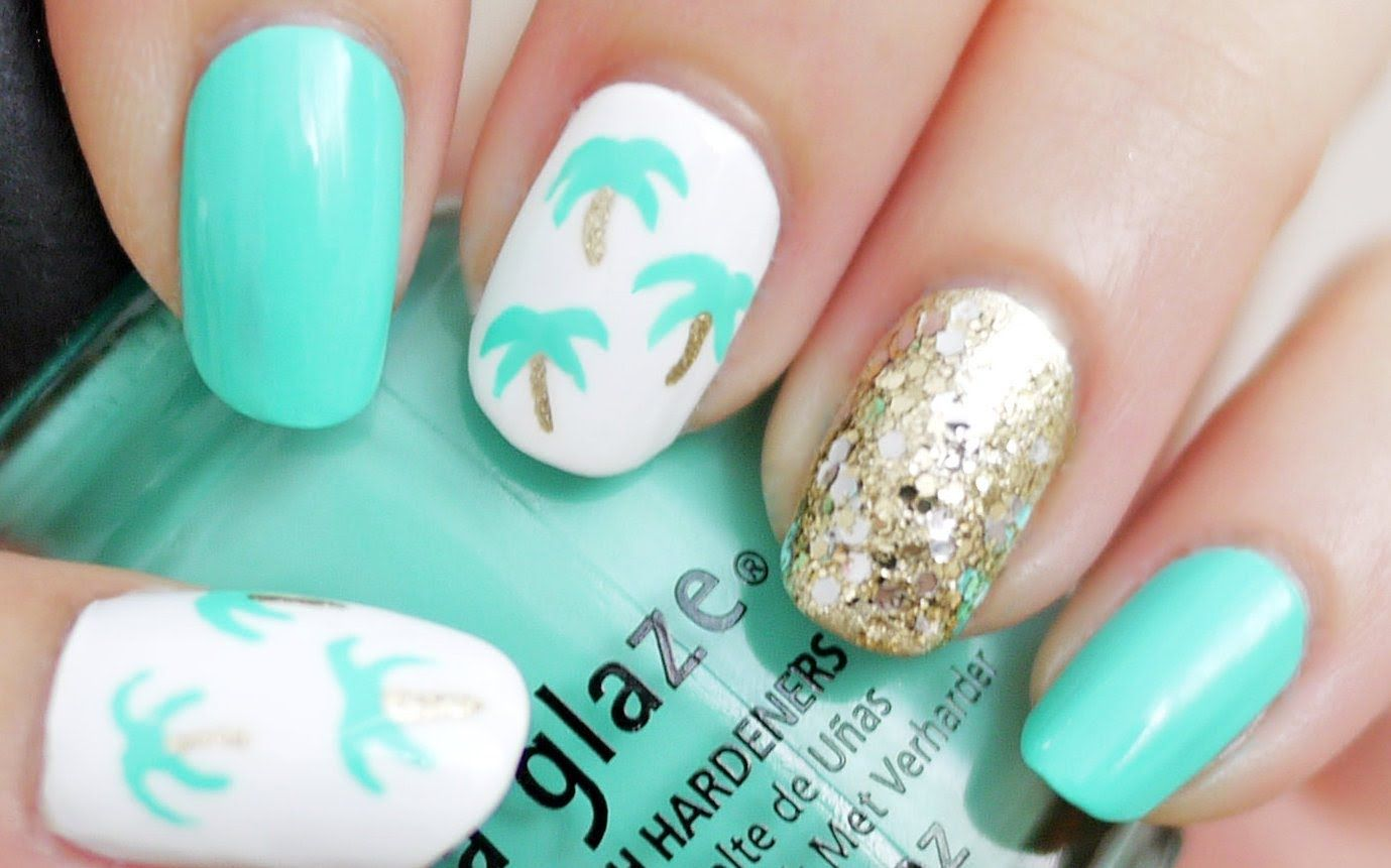 More of my beach Nail inspirations: Easy Palm Tree Nail Art (Using a ...