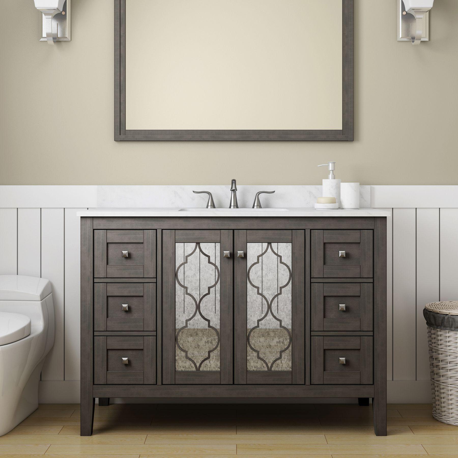 mDesign Towel Holder for Bath Vanity Countertops Stone Gray