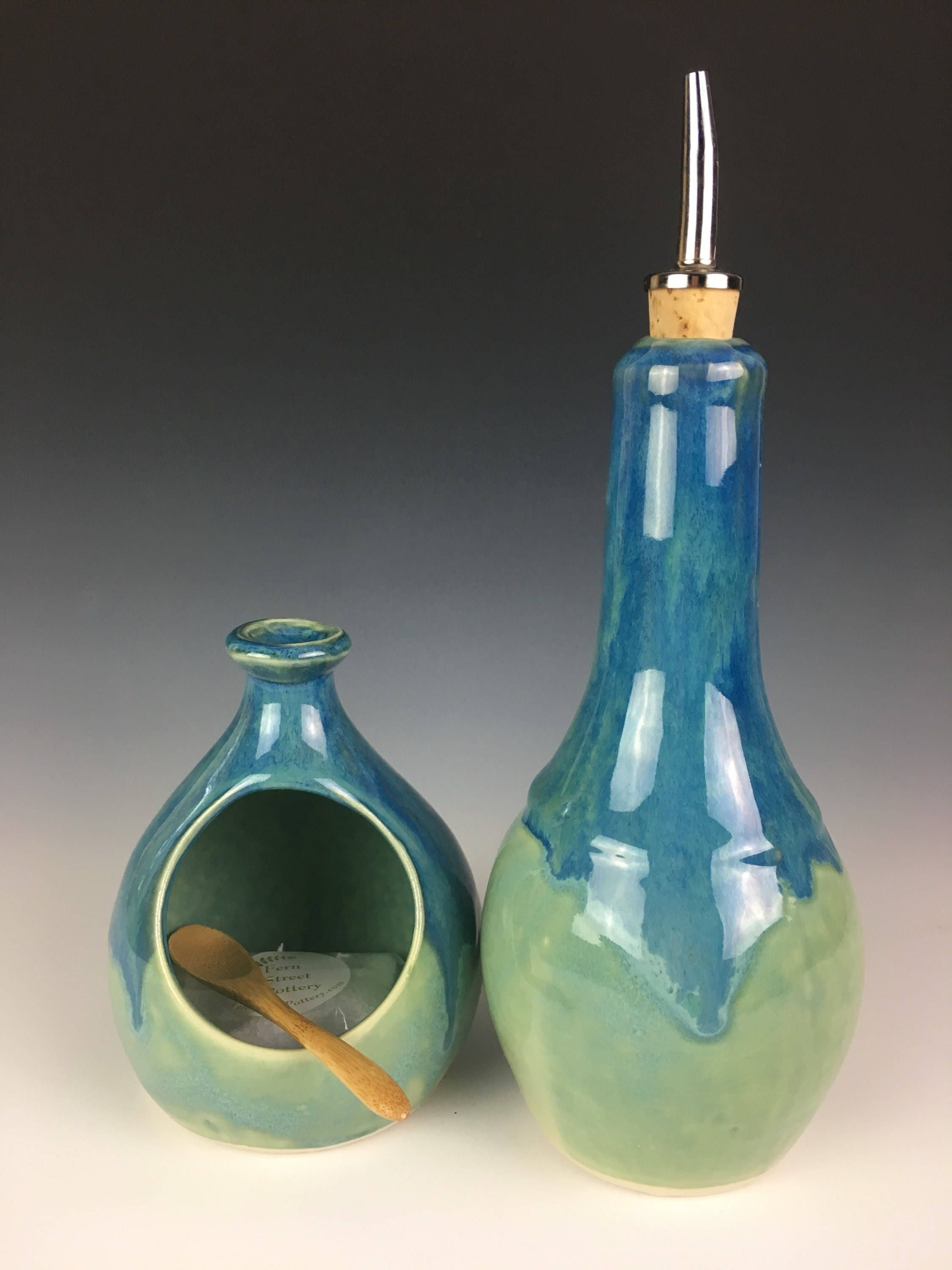 Pottery Olive Oil Cruet in Turquoise and Blue Glaze. A beautiful ...