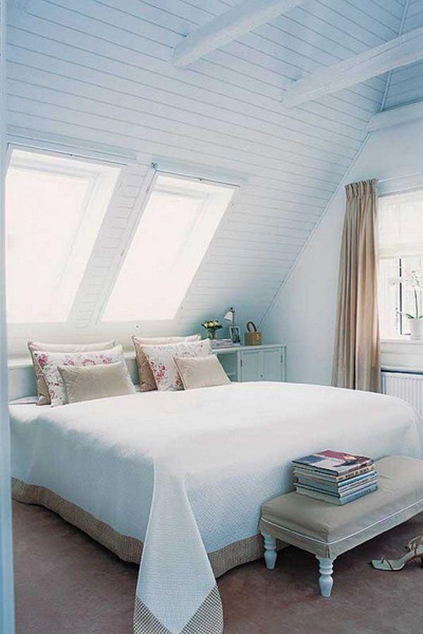 Powder Blue Wall Design De Chambre Mansardee Petite Chambre