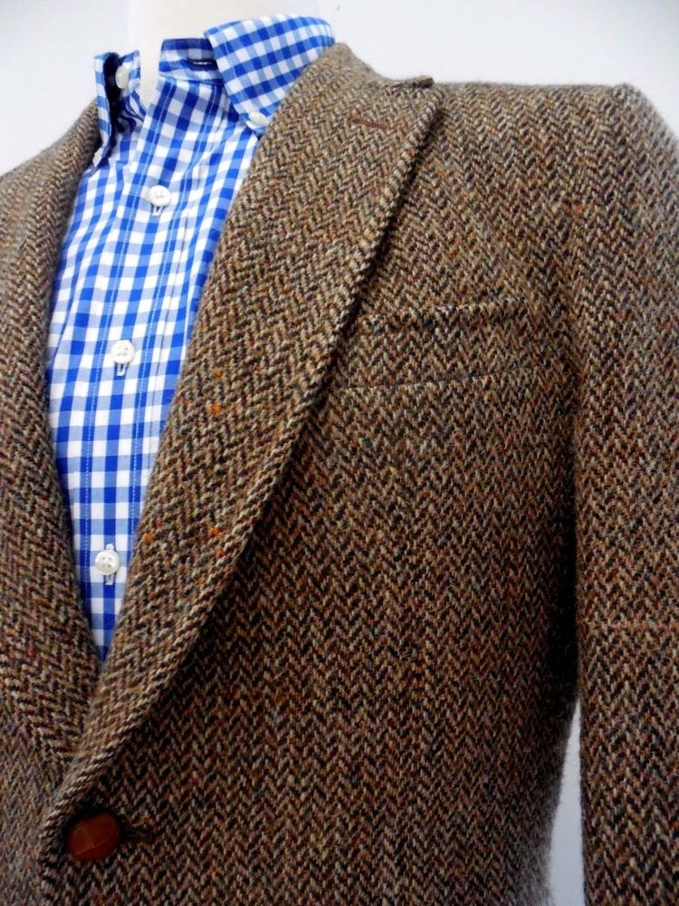 8ca4e9b5d6d8 Harris Tweed Blazer Brown Herringbone Wool Vintage Mens Two Button Sz 42  Jacket   StanleyBlacker  TwoButton