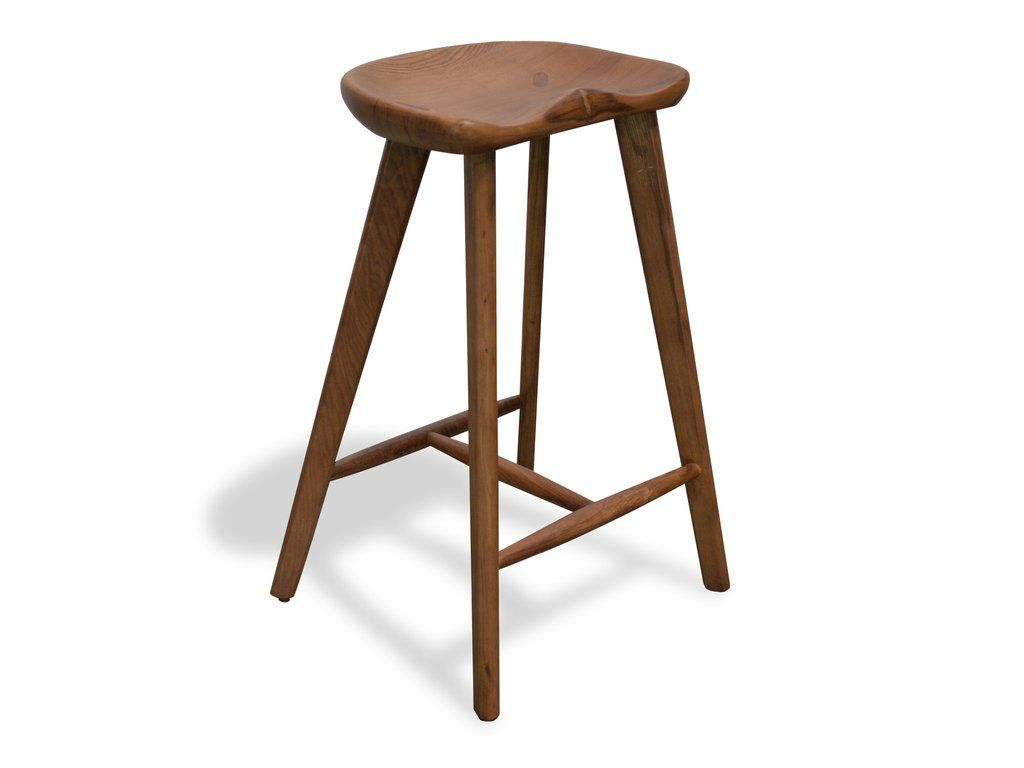 Andria Swiss Tractor Style Curved Wood Counter Stool In Walnut Stain Simply