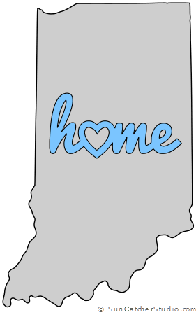 Indiana Home Heart Stencil Pattern Template Shape State Clip Art Outline Printable Downloadable Free Templat Indiana Map Stencil Patterns Templates Map Outline