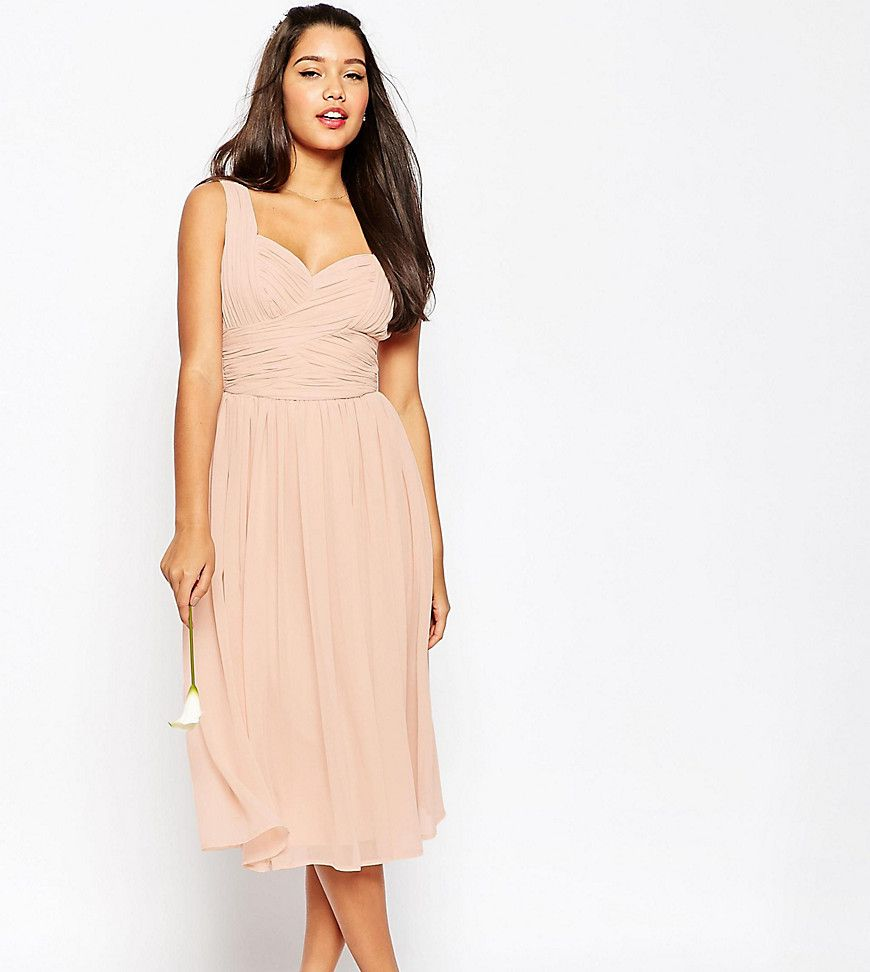 Best dress for wedding guest  ASOS TALL WEDDING Ruched Panel Midi Dress  Pink  Products