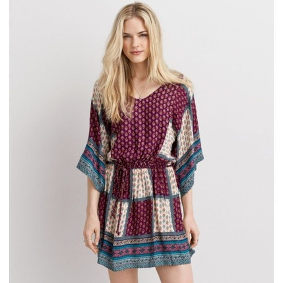 American eagle patchwork boho dress Bought but never worn. Perfect condition. American Eagle Outfitters Dresses