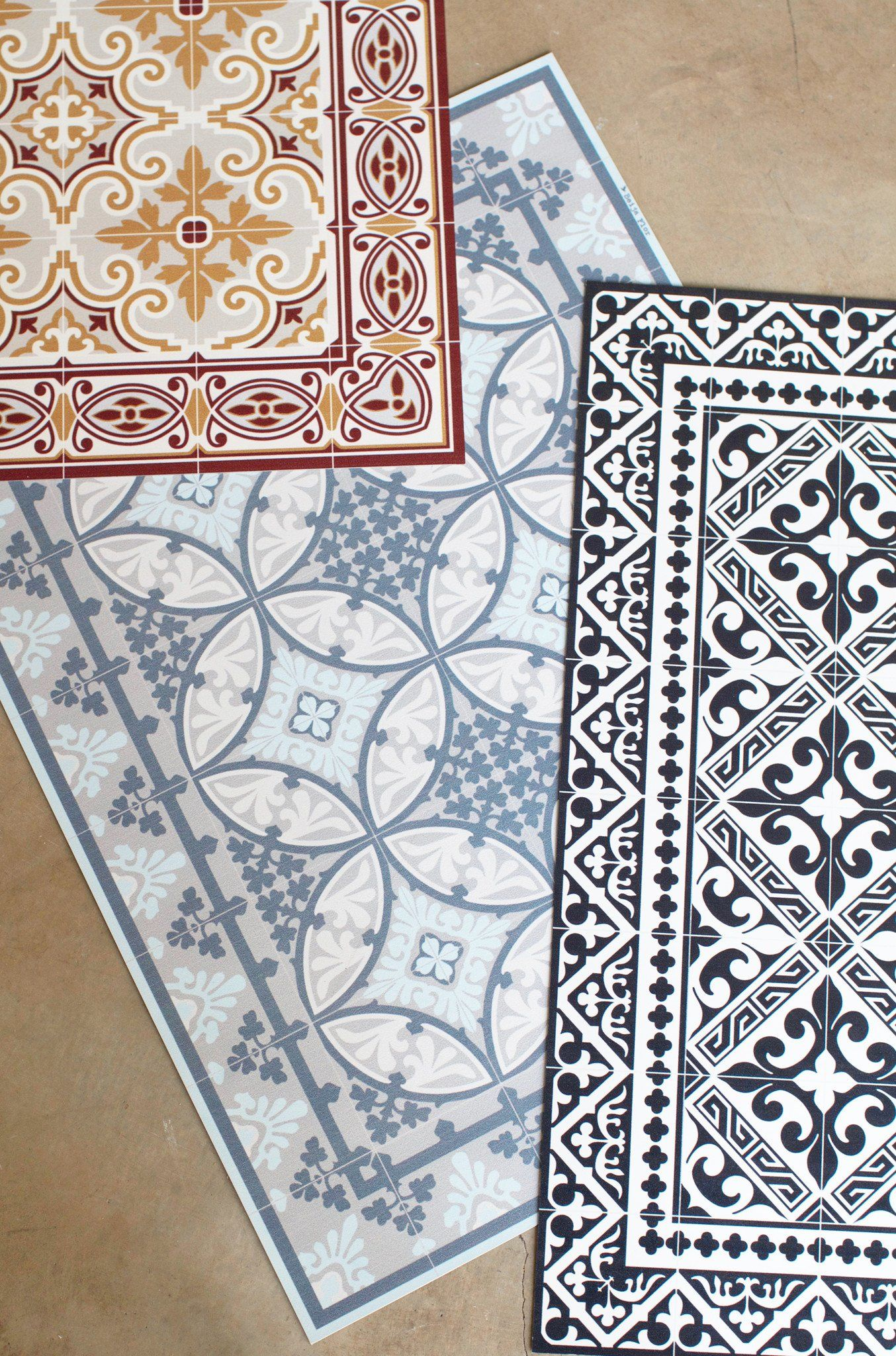 Imported from france these vinyl floor mats are inspired by vintage moroccan tiles available in an assortment of prints they make great door mats