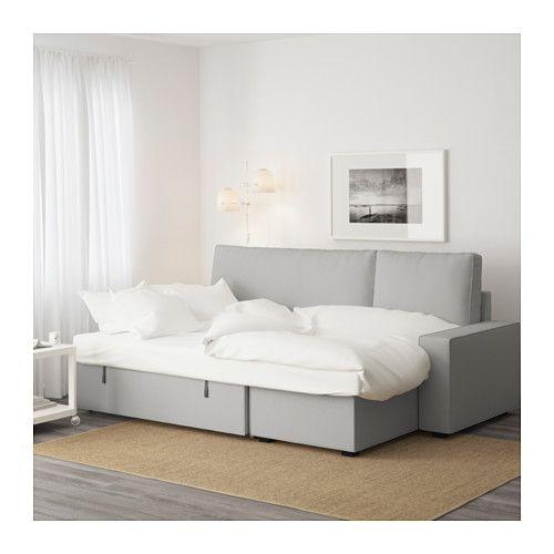VILASUND Bäddsoffa med schäslong Orrsta ljusgrå IKEA Soffa Gästezimmer, Buero och Gast