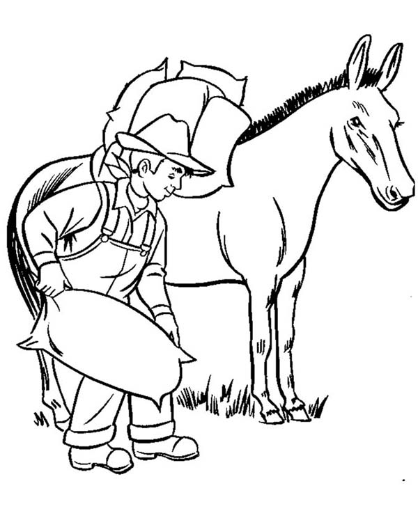 Donkey Carrying Bags Of Rice In Farm Animal Coloring Page Kids Play Color Farm Animal Coloring Pages Animal Coloring Pages Farm Animals Pictures