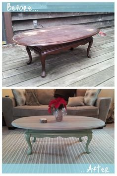 Before and After Coffee Table Refinished furniture Pinterest