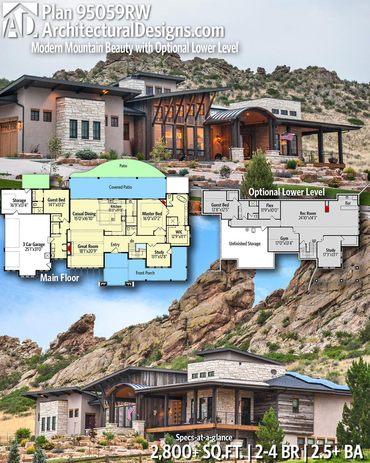 Plan 95059rw Modern Mountain Beauty With Optional Lower Level Mountain House Plans Dream House Plans House Plans