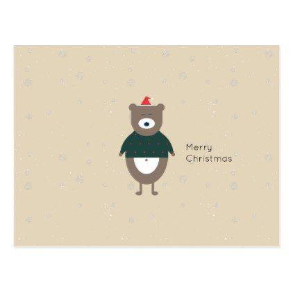 christmas bear modern flat custom color editable postcard modern style idea design custom idea - Idea Design