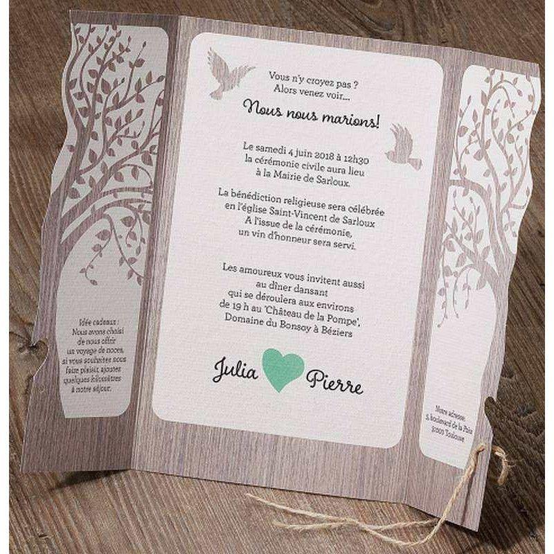 Connu Faire-part mariage nature arbre oiseaux bois Belarto Love 726015  QT96