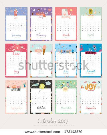 Cute Calendar Template for 2017 Yearly Planner Calendar with all - cute calendar template