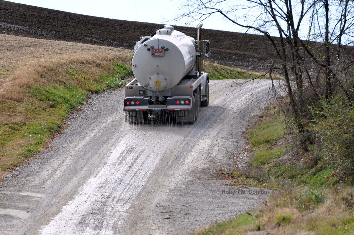 Road application near gas drilling pad Marcellus shale
