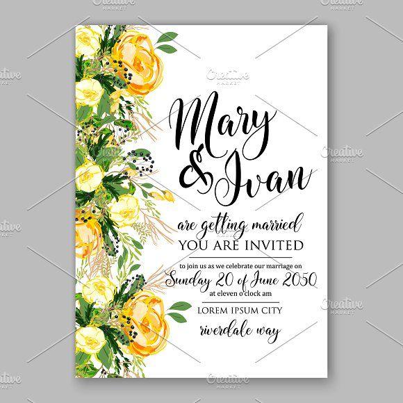Wedding Invitation Yellow Rose Yellow Wedding Invitations Creative Wedding Invitations Flower Invitation Card