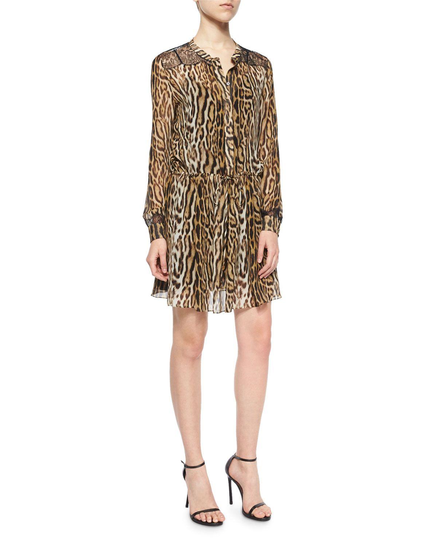 Lacetrimmed leopardprint tunic dress size it us beige