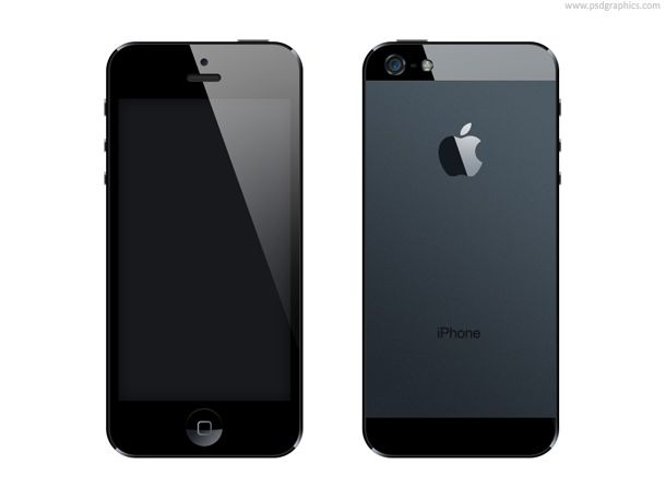 iPhone 5 in PSD format, front and back side of the newest ...
