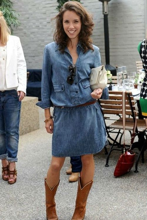011918ff20f denim dress | Outfits | Dresses with boots fall, Cowboy boot outfits ...