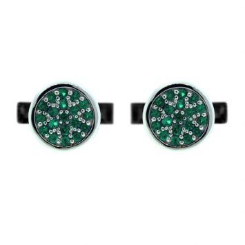 Silver Redondo Cufflinks featuring Emeralds