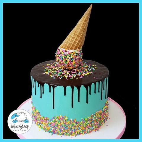 Ice Cream Cone Drip Ice Cream Cake With Images Ice Cream