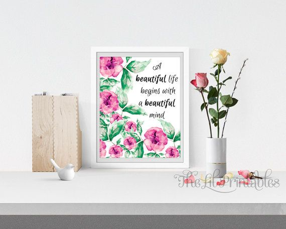 Floral Printable Flower Wall Print by TheLilPrintables on Etsy