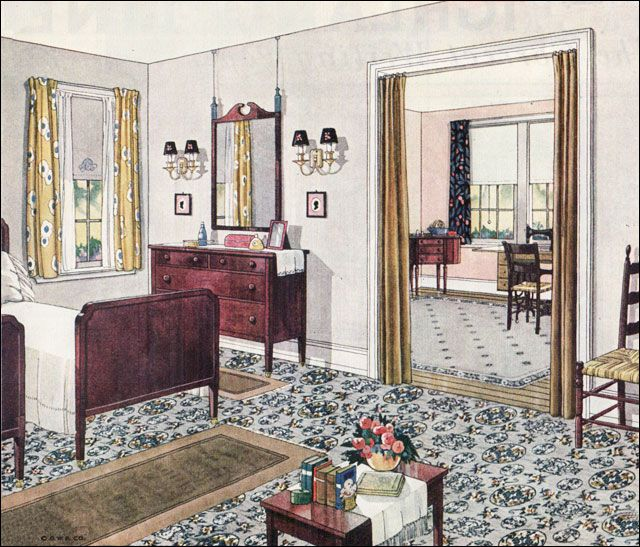 1924 Blabon Bedroom 1920s Bedroom Design Inspiration