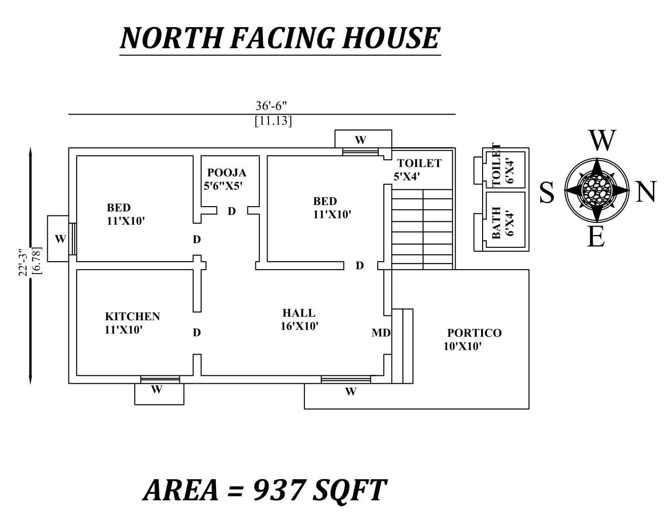 36 6 X22 3 Amazing North Facing 2bhk House Plan As Per Vastu Shastra Autocad Dwg And Pdf File 2bhk House Plan North Facing House Little House Plans
