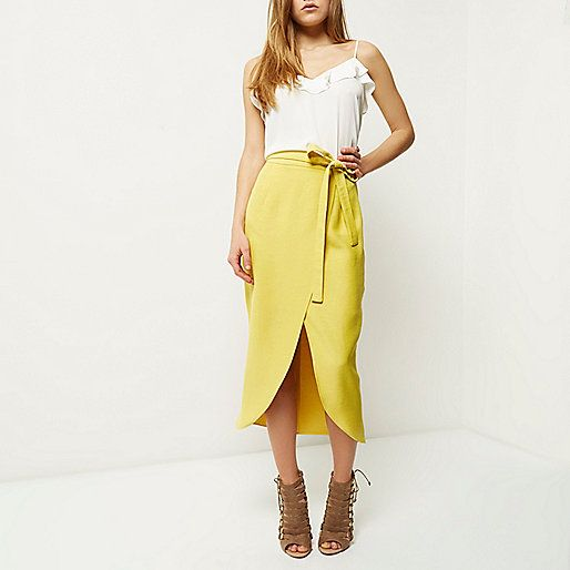 c37277a9e Yellow wrap split front midi skirt - tube / pencil skirts - skirts - women