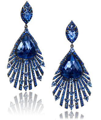 Blue Shirre Pea Drop Earrings Dark Shires Center In An All Deep Shire Feather Design 18 Karat Blackened Gold