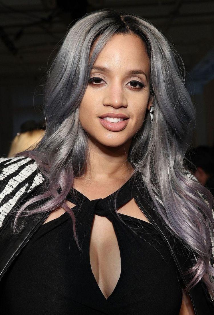 Langhaarfrisuren 2015 Farbe Grau Violett Mode Trend Schoen Glaenzt