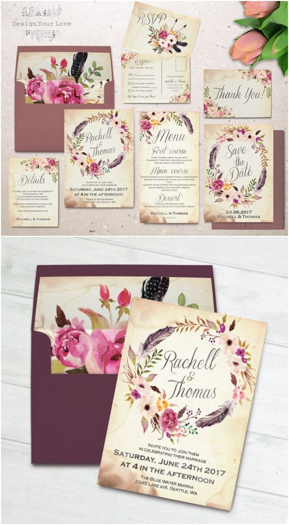 wildflower wedding invitation templates%0A Floral wedding invitation set printable boho wedding invitation suite  vintage romantic wedding bohemian wedding watercolor floral wreath