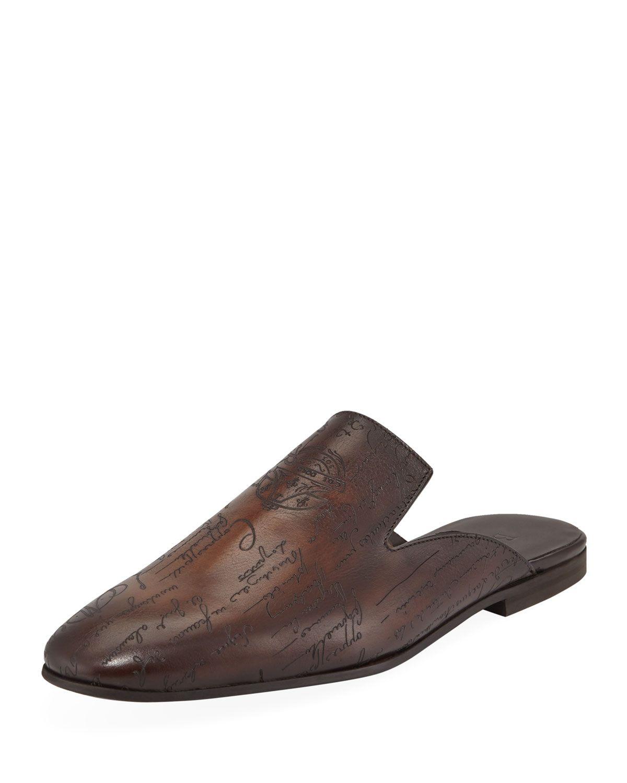24cdfe2f10993 BERLUTI MEN'S AMAZON SCRITTO LEATHER MULE SLIPPERS. #berluti #shoes ...
