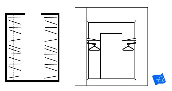 Walk In Closet Design A Floor Plan View On The Left And