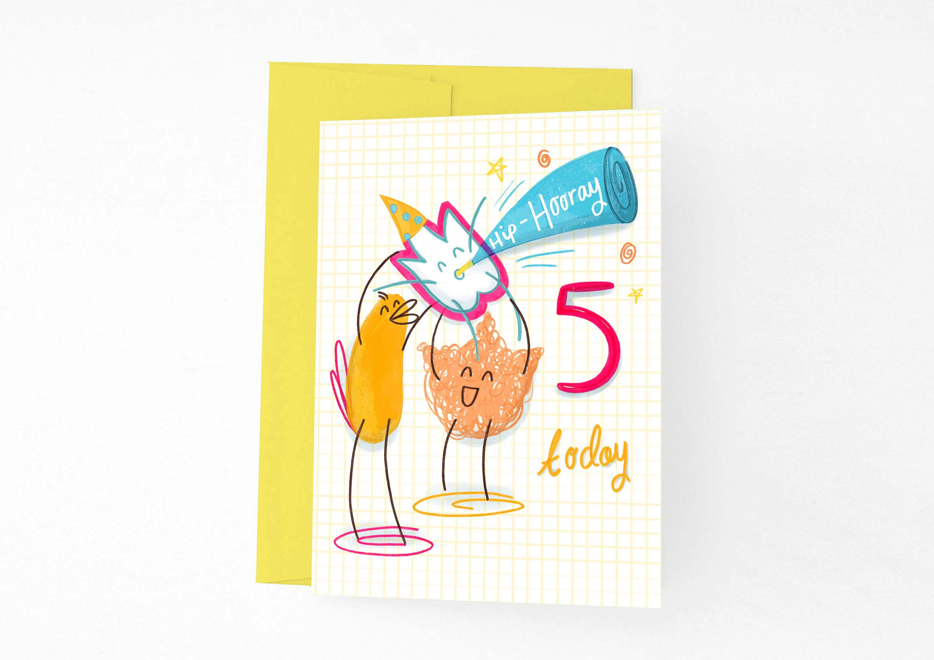 Hip hooray youure today birthday card illustrated kids animated