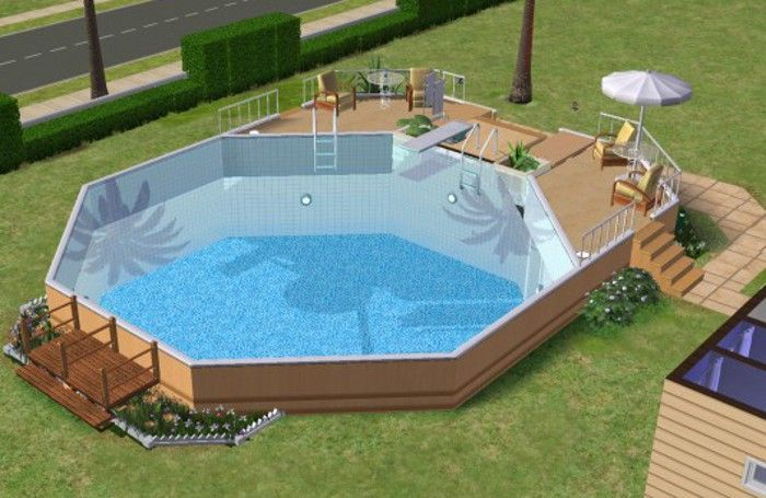 Above Ground Pools With Decks 20 Awesome Photo An Essential Guide For Those Looking At Installing An A Sims House Sims 4 House Building Sims 4 House Plans