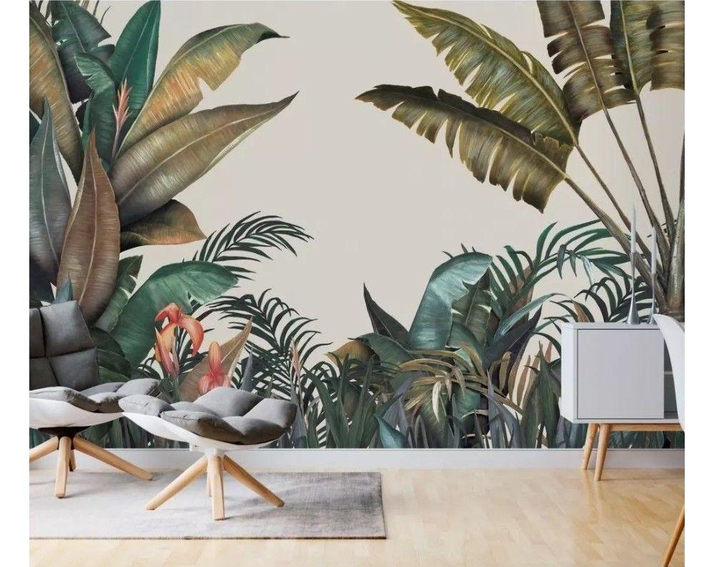 Vintage Tropical Leaf Wallpaper Mural