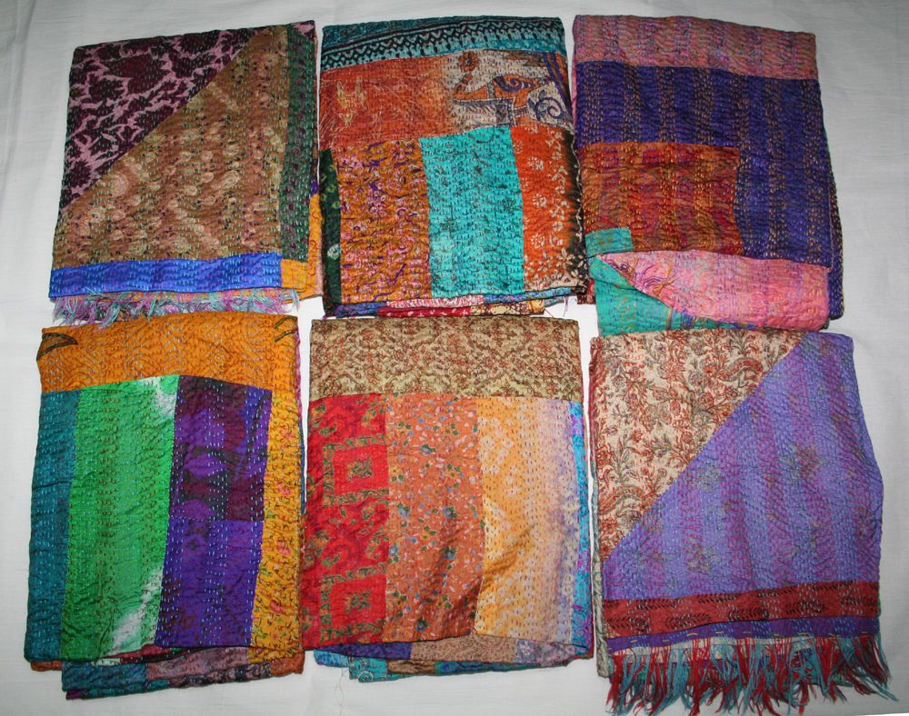 20pc Wholesale Lot 100 Silk Scarf Stole Shawl Neck Wrap Patchwork Reversible Handmade Scarf With Images Kantha Silk Handmade Scarves Shawls And Wraps
