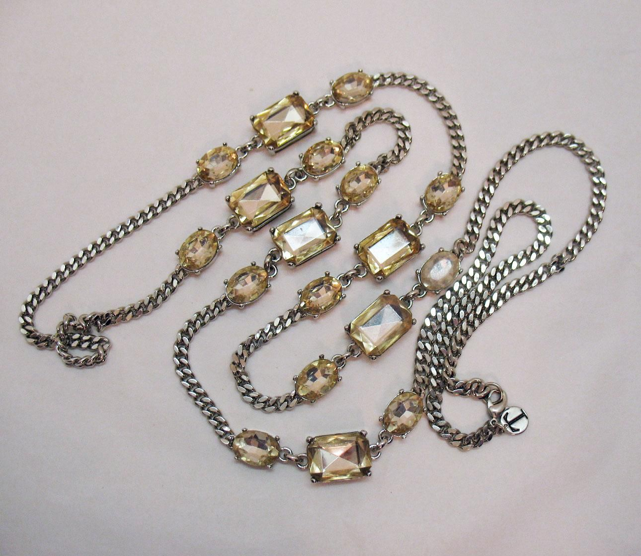 Signed Talbots Massive Champagne Rhinestone 46 Inches Long Necklace
