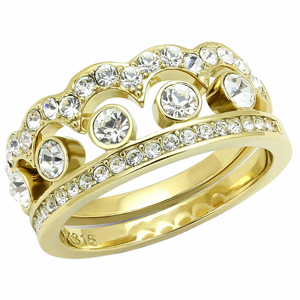 Womens Crown Style Top Grade Crystal in Gold IP Stainless