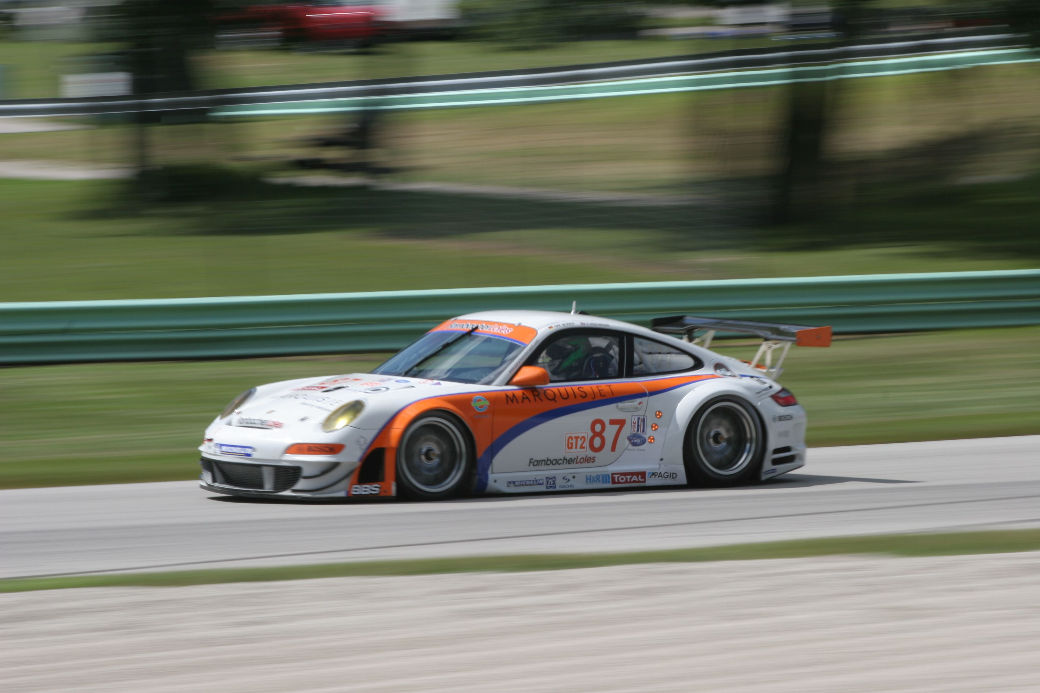 Dirk Werner (Germany) / Richard Westbrook (England), Farnbacher Loles Motorsports Porsche GT3 RSR, ALMS, Road America, 7 AUG 2008 (Photo by Ken Novak)