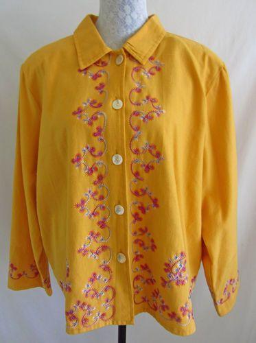 ALEX KIM Orange Multi-Color Swirly Embroidered Print Jacket Coat 2X  $18.75