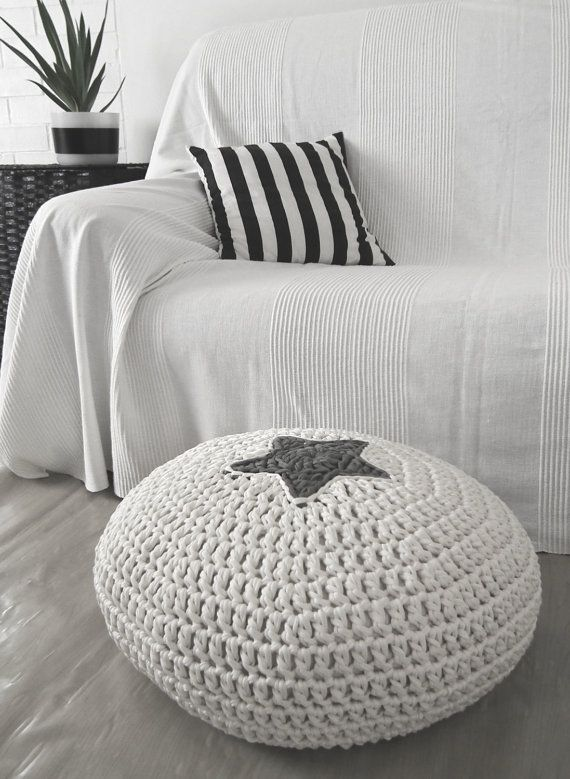 Round Knit Floor Pouf Avec Star Off White Cushion Seating For