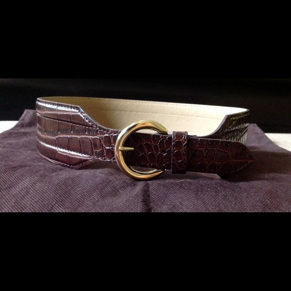 Croc embossed wide belt NWT Croc embossed wide gold buckle belt. The Limited Accessories Belts