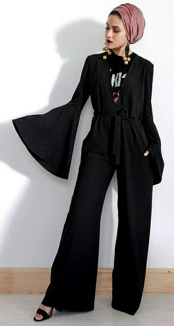 01cdd52fdb02 Black jumpsuit with long flare hands.- Hijab street style  hijabfashion   hijabstyle