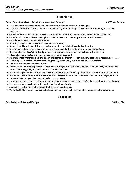 Retail Sales associate Resume Sample Sales